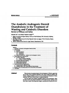 The Anabolic Androgenic Steroid Oxandrolone in the Treatment of ...