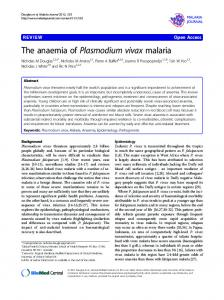 The anaemia of Plasmodium vivax malaria - BioMedSearch