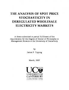 The Analysis of Spot Price Stochasticity in Deregulated Wholesale ...