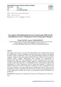 The Analysis of the Relationship between Communication Skills and ...
