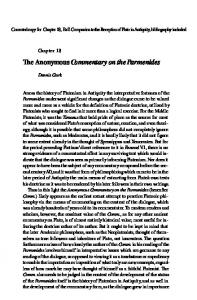 The Anonymous Commentary on the Parmenides