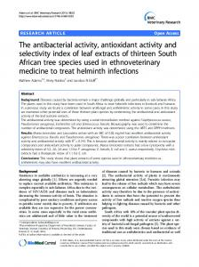 The antibacterial activity, antioxidant activity and ... - BioMedSearch