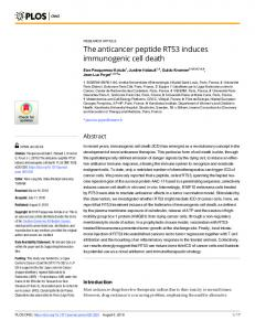 The anticancer peptide RT53 induces immunogenic cell death - PLOS