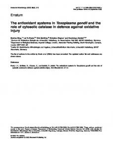 The antioxidant systems in Toxoplasma gondii ... - Wiley Online Library