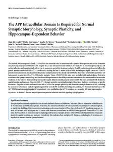 The APP Intracellular Domain Is Required for Normal Synaptic ...