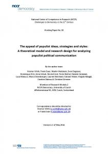 The appeal of populist ideas, strategies and styles - NCCR Democracy