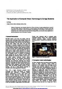 The Application of Computer Music Technology to College Students