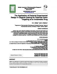 The Application of Factorial Experimental Design in ... - IMSEAR