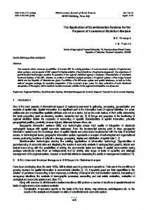 The Application of Geoinformation Systems for the Purposes of ...
