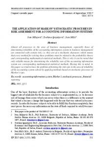 the application of markov's stochastic processes in risk assessment for ...