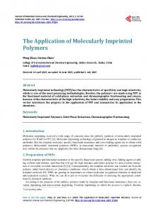 The Application of Molecularly Imprinted Polymers