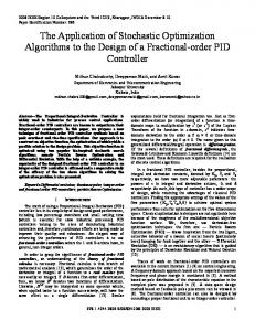 The Application of Stochastic Optimization Algorithms to the ... - arXiv