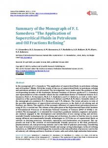 The Application of Supercritical Fluids in Petroleum and Oil Fractions ...