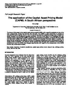 The application of the Capital Asset Pricing ... - Academic Journals
