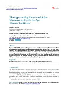 The Approaching New Grand Solar Minimum and Little Ice Age ...