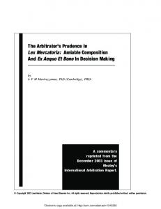 The Arbitrator's Prudence In Lex Mercatoria: Amiable ... - SSRN papers