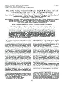 The ARID Family Transcription Factor Bright Is Required for both ...