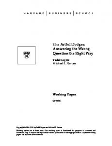 The Artful Dodger: Answering the Wrong Question the Right Way ...