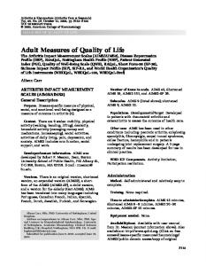 The Arthritis Impact Measurement Scales (AIMS ... - Wiley Online Library