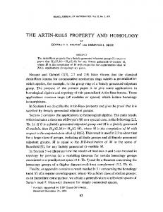 the artin-rees property and homology - Cornell Math - Cornell University