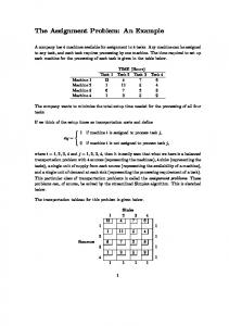The Assignment Problem: An Example