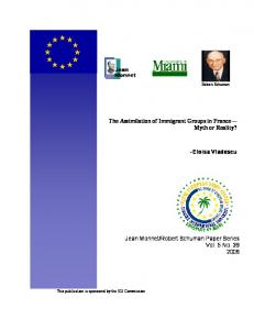 The Assimilation of Immigrant Groups in France - University of Miami