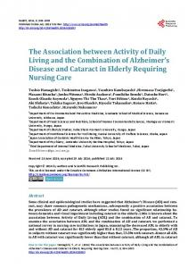 The Association between Activity of Daily Living and the Combination ...