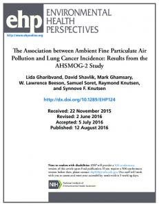 The Association between Ambient Fine Particulate Air Pollution and ...