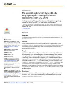The association between BMI and body weight perception ... - PLOS