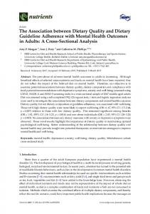 The Association between Dietary Quality and Dietary Guideline ... - MDPI