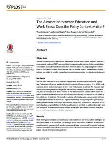 The Association between Education and Work Stress: Does ... - PLOS