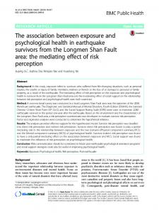 The association between exposure and psychological health in ...