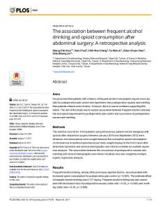 The association between frequent alcohol drinking ... - Semantic Scholar