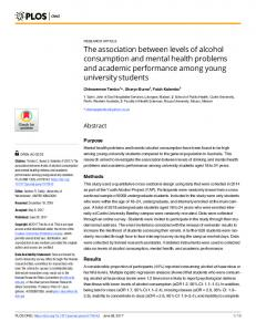 The association between levels of alcohol consumption and ... - PLOS