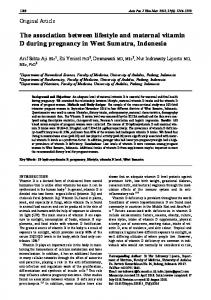 The association between lifestyle and maternal vitamin D during