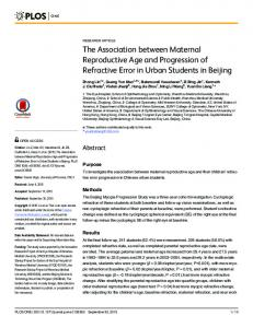 The Association between Maternal Reproductive ... - Semantic Scholar
