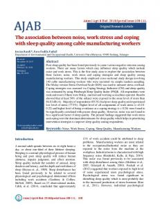 The association between noise, work stress and ...