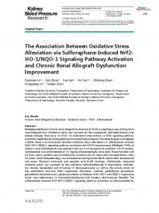 The Association Between Oxidative Stress ... - Karger Publishers