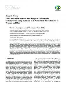 The Association between Psychological Distress and Self-Reported ...