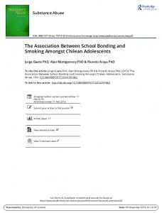 The Association Between School Bonding and ...
