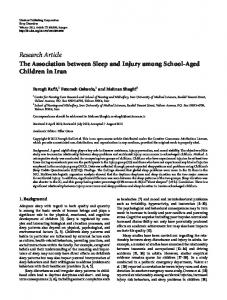 The Association between Sleep and Injury among School-Aged