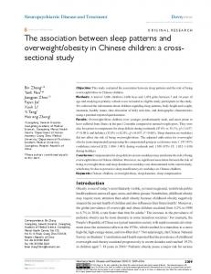 The association between sleep patterns and ... - Semantic Scholar