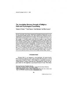 The Association Between Strength of Religious Faith ... - Springer Link