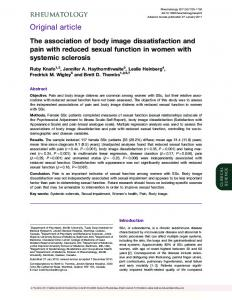 The association of body image dissatisfaction and pain with reduced ...