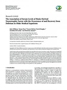 The Association of Serum Levels of Brain-Derived Neurotrophic Factor ...
