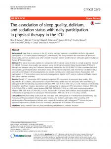 The association of sleep quality, delirium, and