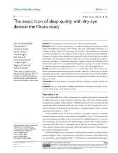 The association of sleep quality with dry eye ... - Semantic Scholar