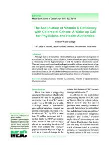 The Association of Vitamin D Deficiency with