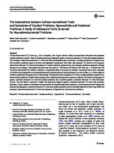 The Associations between Callous-unemotional Traits ... - Springer Link