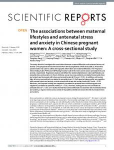 The associations between maternal lifestyles and antenatal ... - Nature